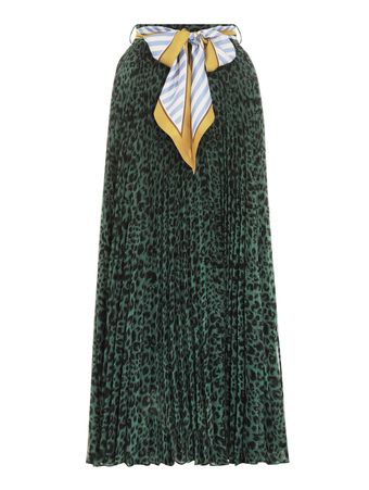 SAIA-LONGA-SUNRAY-SKIRT-GREEN-ANIMAL