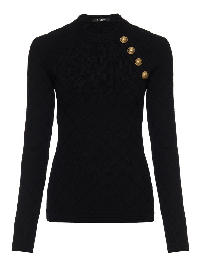 SUETER-BUTTON-DETAILED-DIAMOND-KNIT-SWEA-0PA-BLACK