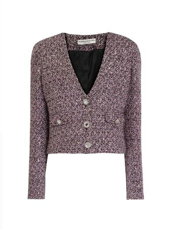 BLAZER-SEQUIN-TWEED-V-NECK JACKET-PINK-BLACK