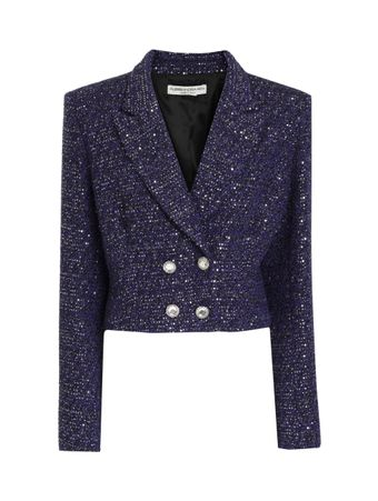 BLAZER-SEQUIN-TWEED-DOUBLE BREASTED-JACK-BLUE-ROYAL--BLACK