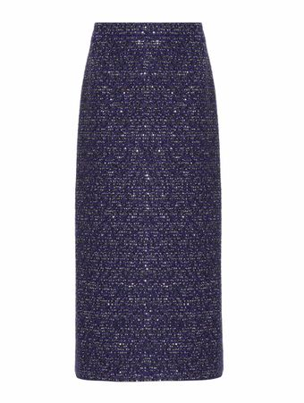 SAIA-LONGA-SEQUIN-TWEED-MID-SKIRT-BLUE-ROYAL--BLACK
