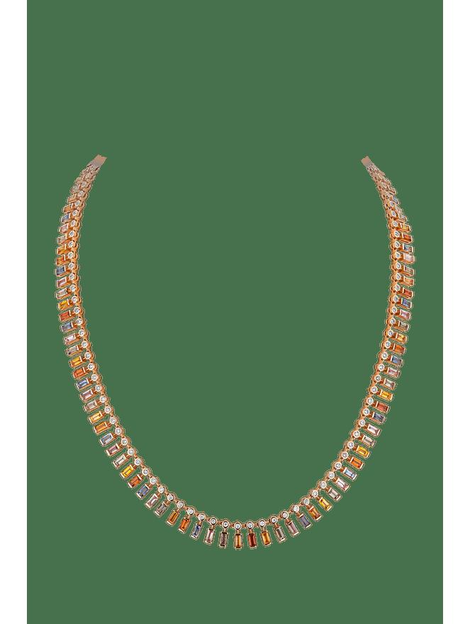 Gargantilha-Safiras-Coloridas-de-Ouro-Rose