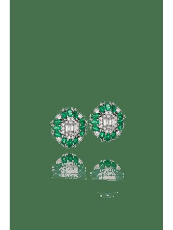 Par-de-brincos-em-ouro-branco-com-diamantes-e-esmeraldas--Ouro--18-cm
