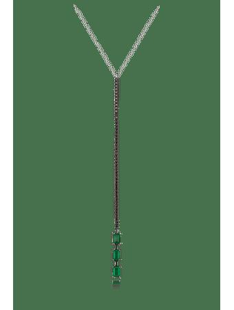 Gargantilha-em-ouro-branco-de-diamantes-negros-e-esmeraldas--Ouro--45cm
