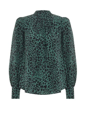 CAMISA--SILK-COLLAR-BLOUSE-GREEN-ANIMAL