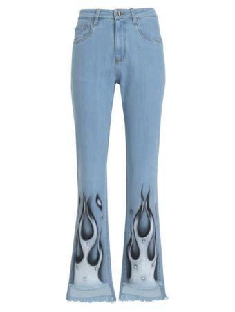 Calca-Jeans-Reta-Aerografada-Com-Strass-Lavagem-Clara