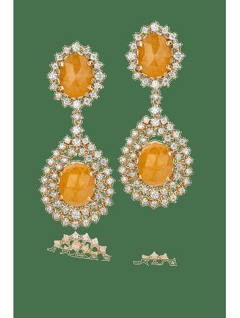 Par-de-brincos-em-ouro-amarelo-com-safiras-amarelas-e-diamantes-Ouro