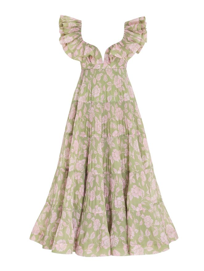 VESTIDO-LONGO-THE-LOVESTRUCK-PLEATED-GOW-OLIVE-PINK-ROSE
