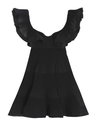 VESTIDO-CURTO-THE-LOVESTRUCK-PLEATED-MIN-BLACK