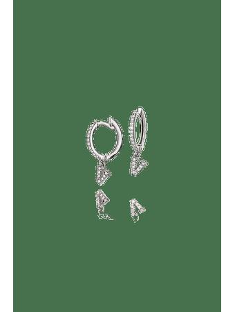 Par-de-brincos-argola-pingente-letra-V-em-ouro-branco-18k-com-diamantes