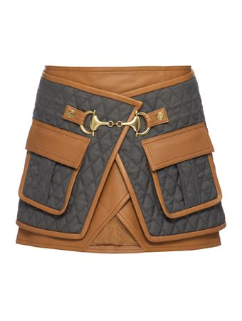SAIA-CURTA-SHORT-LEATHER-TRIMMED-QUILTED-GREY-CAMEL