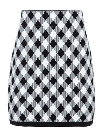 SAIA-CURTA-SHORT-HW-GINGHAM-JACQUARD-SKI-EAB-BLACK-WHITE