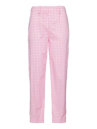 CALCA-FEMININA-GINGHAM-CARROT-PANTS-PINK-WHITE