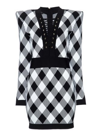 VESTIDO-CURTO-SHORT-LS-LACE-UP-GINGHAM-J-EAB-BLACK-WHITE