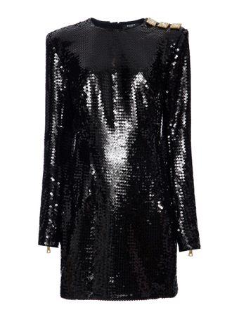 VESTIDO-CURTO-SHORT-LS-SEQUINED-DRESS-0PA-BLACK