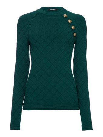 SUETER-BUTTON-DETAILED-DIAMOND-KNIT-SWEA-DARK-GREEN