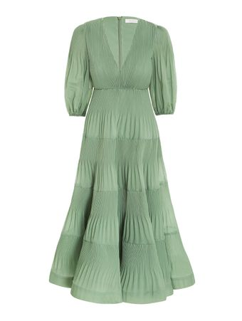 Vestido-Plissado-Verde
