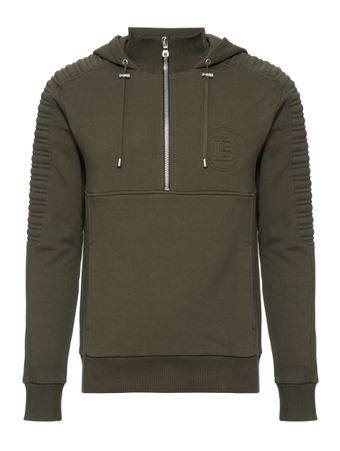 BLUSAO-BALMAIN-EMBOOSED-HOODED-TRACK-TOP-KAKI