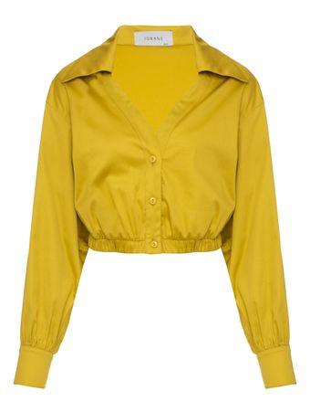 Camisa-Cropped-Tricoline-Amarela