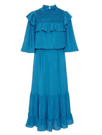 Vestido-Babados-Azul