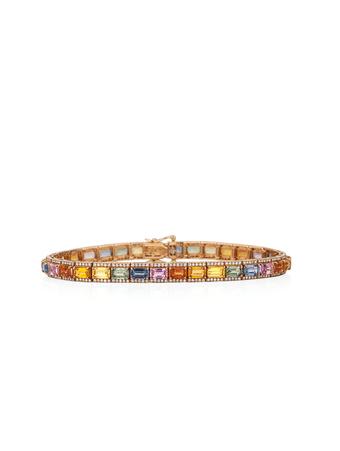 Pulseira-Riviera-em-ouro-amarelo-com-diamantes-e-safiras-coloridas