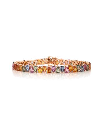 Pulseira-Riviera-em-ouro-rose-com-diamantes-e-safiras-coloridas