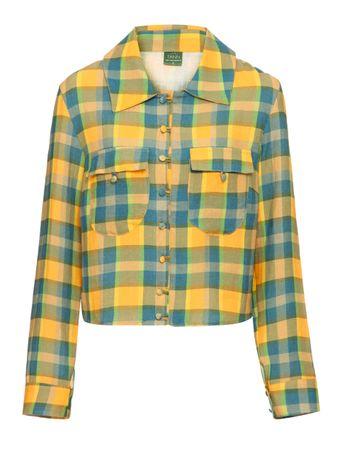 Shacket-Camisa-Jaqueta-de-Linho-A-Carreaux-Amarelo