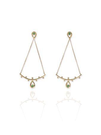 Brinco-Pollen-Ouro-amarelo-18k-Esmeraldas-e-Diamantes