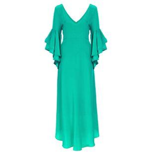 Vestido-Longo-Trauira-de-Seda-Verde