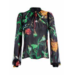 Blusa-de-Seda-Floral-Preto