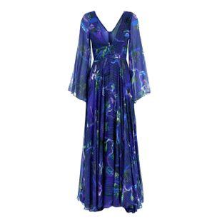Vestido-Longo-de-Seda-Mista-Estampada-Azul