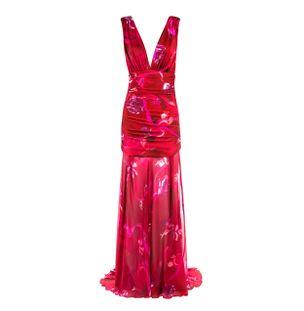 Vestido-Longo-Franzido-de-Seda-Estampada-Vermelho