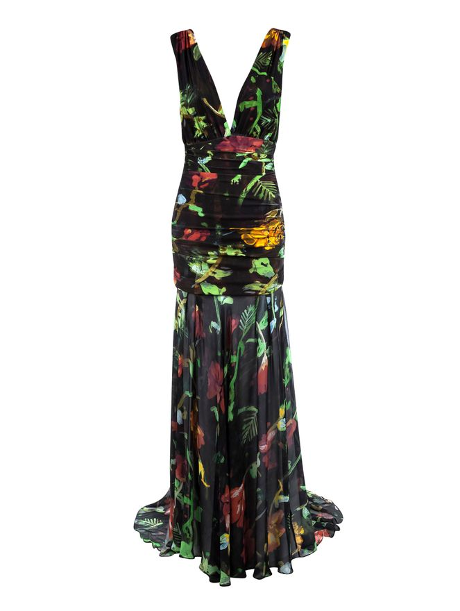 Vestido-Longo-Franzido-de-Seda-Estampada-Preto