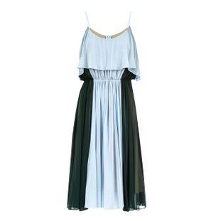 Vestido-Midi-Rodado-de-Poliester-Misto-Verde