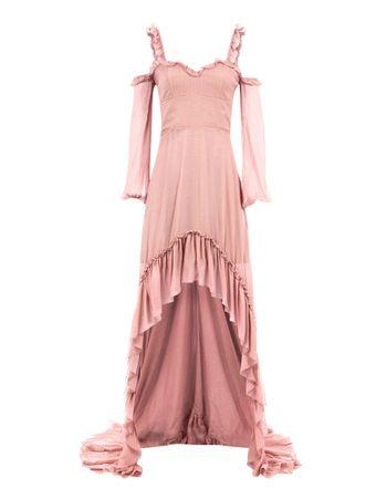 Vestido-Mullet-de-Seda-Mista-Rosa