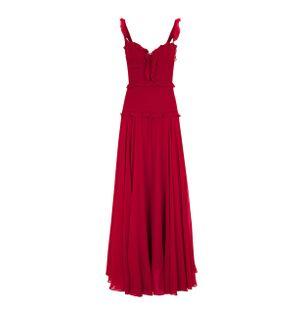 Vestido-Longo-de-Seda-Vermelho