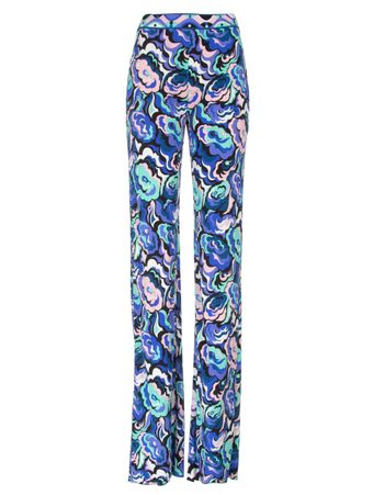 Calca-Flare-Trousers-Estampada-Azul