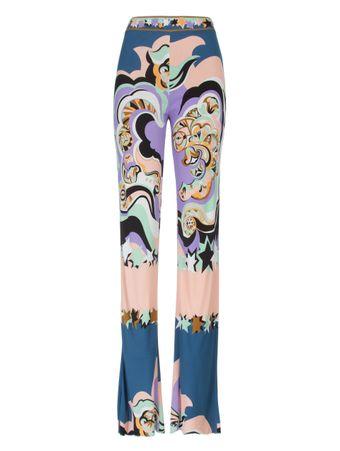 Calca-Flare-Trousers-Estampada-Rosa