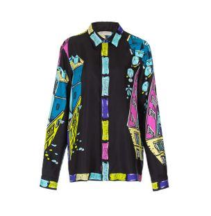 Camisa-Manga-Longa-de-Seda-Estampado-Preto