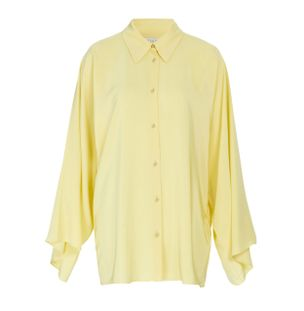 Camisa-Manga-Flare-de-Seda-Amarelo