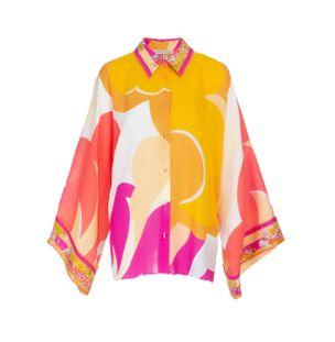 Camisa-Manga-Flare-de-Seda-Estampado-Amarelo