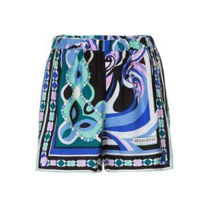 Shorts-Curto-de-Seda-Estampado-Azul