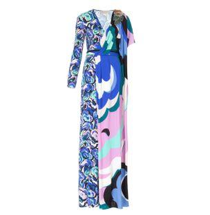Vestido-Longo-Decote-V-Estampado-Azul