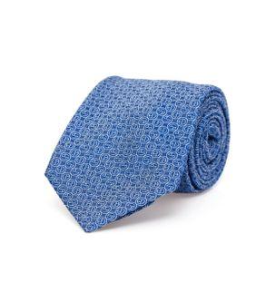 Gravata-Lapiz-de-Seda-Estampada-Azul