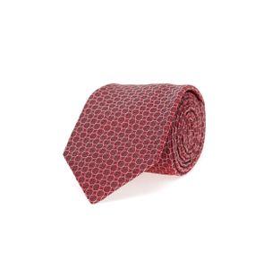 Gravata-de-Seda-Estampada-Vermelha