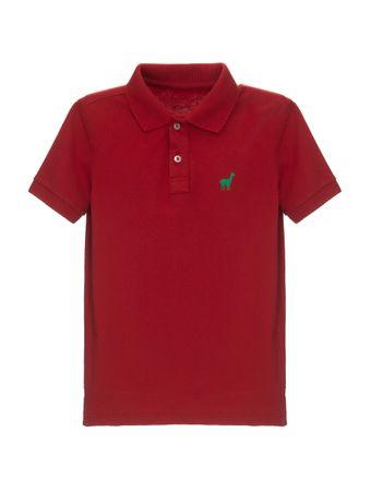 Camisa-Polo-Lhama-Stretch-Boys-de-Algodao-Vermelha