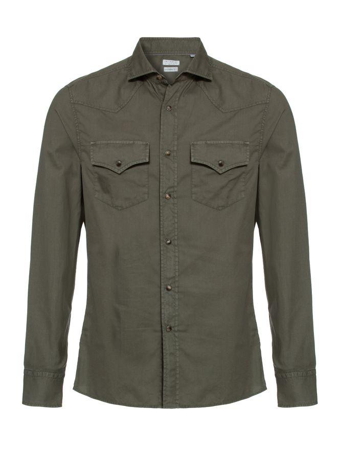 Camisa-Casual-de-Algodao-Verde