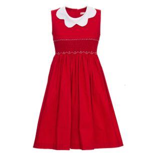 Vestido-Longo-Estrela-de-Algodao-Vermelho