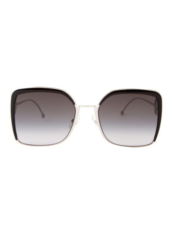 Oculos-de-Sol-Fendi-Maxi-Quadrado-0294S-Prata-e-Preto