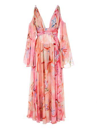 Vestido-Longo-Drapeado-de-Seda-Estampado-Rosa